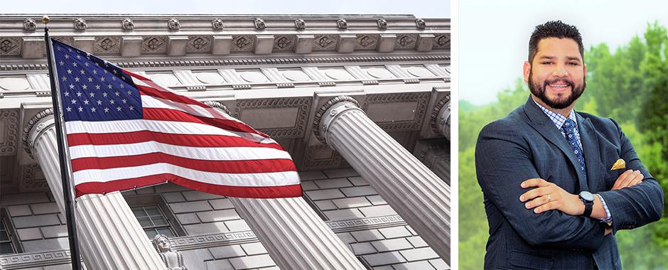 Julio Moreno and American flag